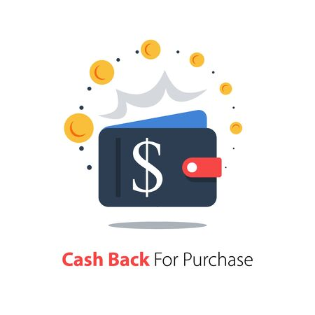 Cash back, wallet with dollar sign and flipping coin, transfer money Illustration