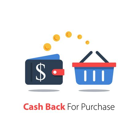 Cash back for purchase, wallet with dollar sign and shopping basket Ilustração