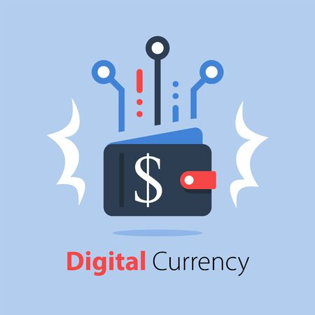 Crypto wallet, finance technology, online payment, digital currency Ilustração