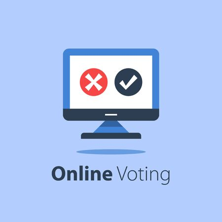 Internet voting, submit online, government services, computer monitor with check mark and cross Ilustração