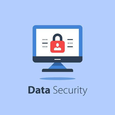 Online security, computer monitor and padlock, safe internet access, antivirus software, data protection, web technology, vector flat illustration Çizim