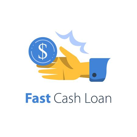 Fast cash loan, credit approval, easy wage, open hand taking money