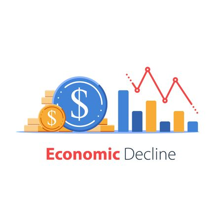 Economy negative prognosis, financial loss, low business performance, revenue decrease