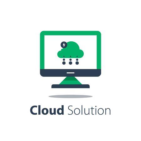 Cloud services, internet technology, online file storage, web solution, distant server