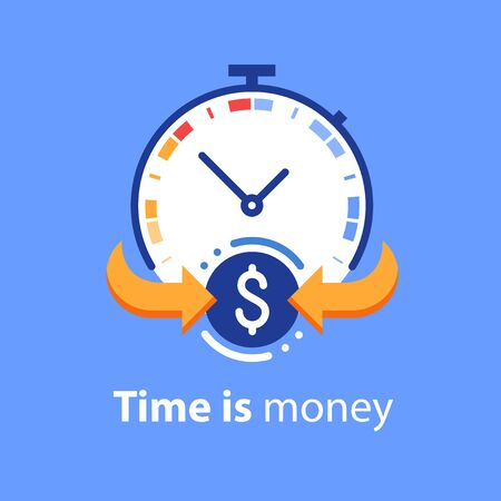 Time is money concept, timely payment, easy loan, instant payment, fast money growth, financial services, vector flat illustration