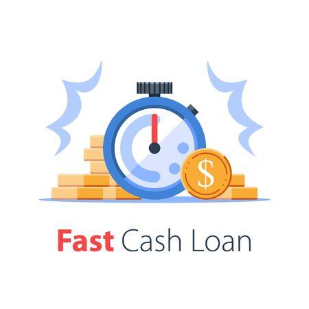 Il tempo è denaro concetto, pila di monete e cronometro, prestito facile, pagamento istantaneo, rapida crescita del denaro, servizi finanziari, illustrazione vettoriale piatta Vettoriali