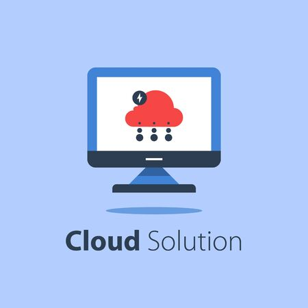 Cloud services, internet technology, online file storage, web solution, distant server, upload or download, data protection, computer monitor, vector flat illustration Ilustração