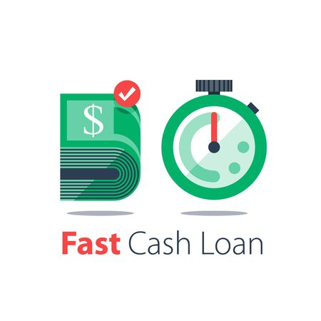 Cash back, bundle of bills and stopwatch, easy loan, instant payment, fast money transfer, financial services, vector flat illustration Ilustração