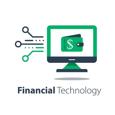 Online wallet, computer monitor and wallet, banking services, internet payment, sending money, shopping cash back, easy and quick loan approval, digital economy, electronic currency