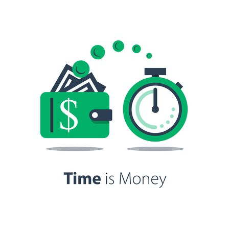Cash back, wallet with dollar sign and stopwatch, easy loan, instant payment, fast money transfer, financial services, vector flat illustration Ilustração