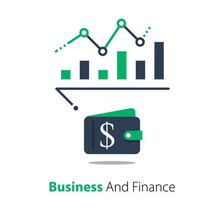 Financial analysis, business performance report, revenue growth chart, income increase graph, investment strategy, vector flat illustration Ilustração