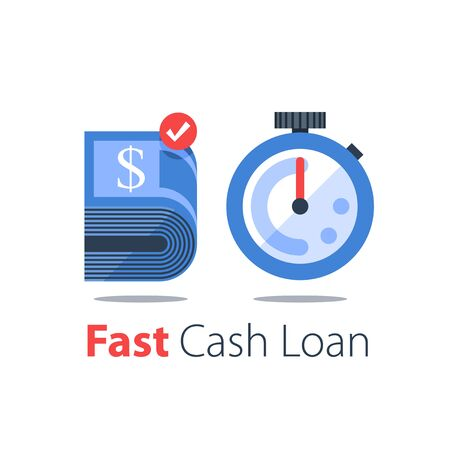 Cash back, bundle of bills and stopwatch, easy loan, instant payment