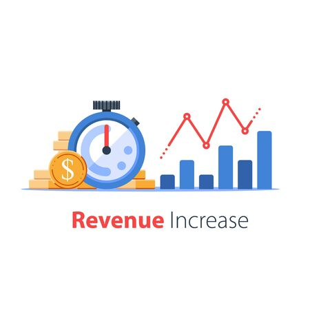 Stopwatch and portfolio performance graph, revenue increase chart, business growth, return on investment