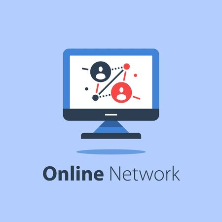 Online network, computer monitor, internet portal, people connection, distant work