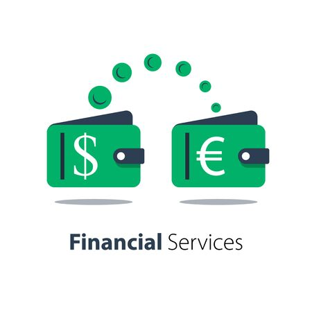 Cash back, wallet with dollar sign and flipping coin, transfer money, financial services, vector flat illustration
