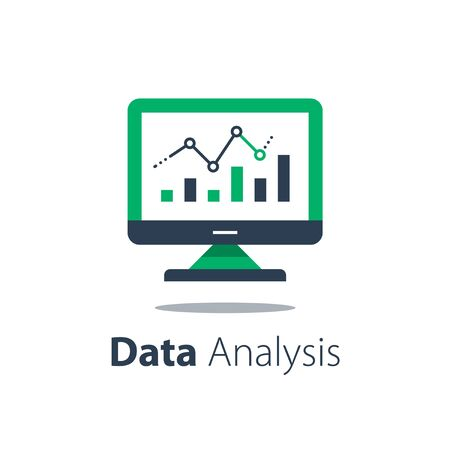 Online analytics, computer monitor and diagram, web statistic, internet big data, website usage report, vector flat illustration