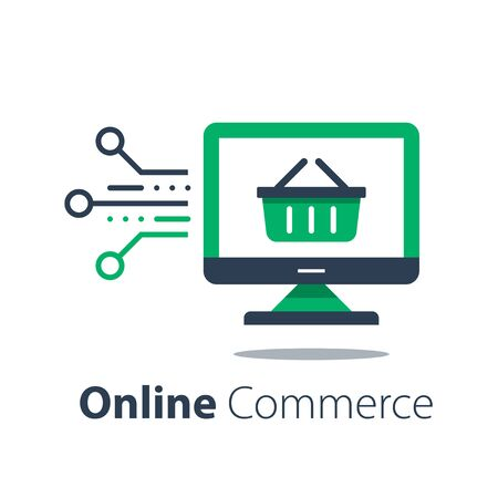 Online shopping, internet purchase, grocery basket and computer monitor, vector flat illustration