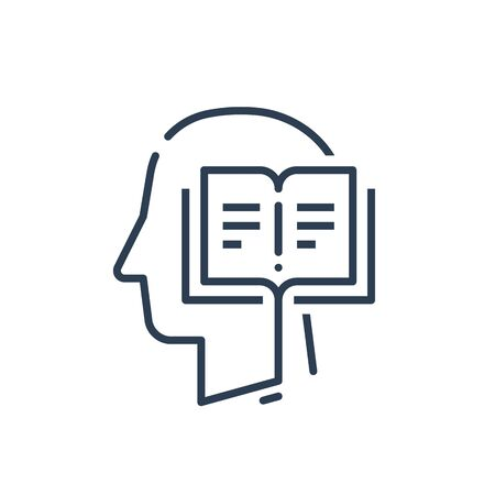 Human head profile and open book, education subject, writing and storytelling concept, literature or poetry, vector line icon