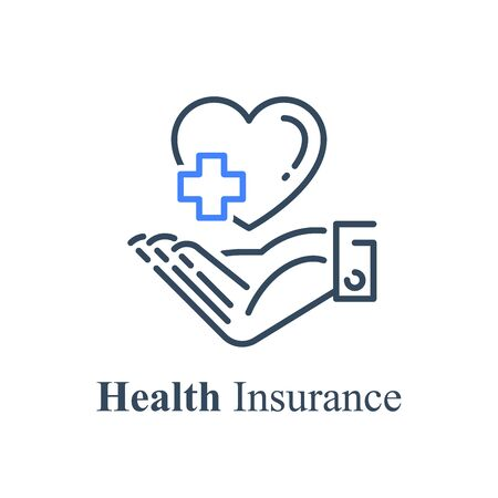 Human hand holding heart and cross, health care concept, medical help, non profit charity fund, support program, volunteer assistance, vector line icon
