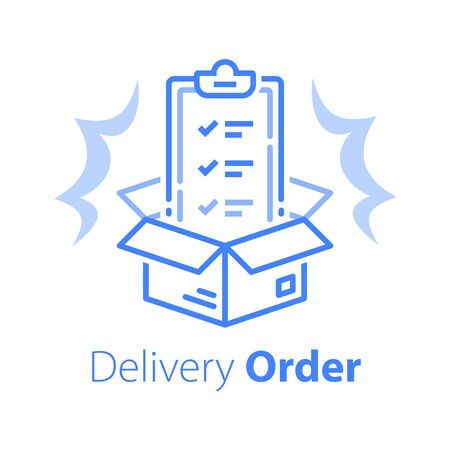 Delivery services, linear design, insurance policy, terms and conditions, clipboard and open box, shipment check list, parcel distribution, vector line icon