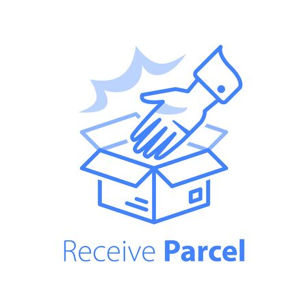 Delivering shop order, linear design, open box and hand, pick up pint, give away parcel, receive store purchase, collect office, vector line icon Vektorgrafik