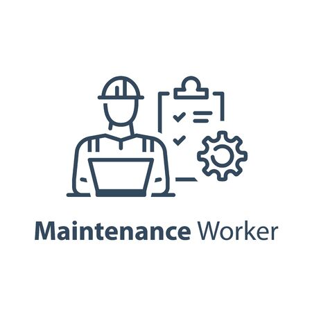 Ingénieur civil derrière un ordinateur portable, une liste de contrôle et une roue dentée, un service de maintenance, un technicien, une icône de ligne vectorielle