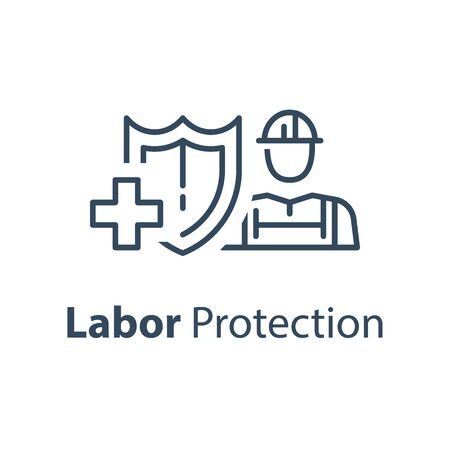 Worker and shield, medical insurance, labor safety, health protection, injury coverage, vector line icon