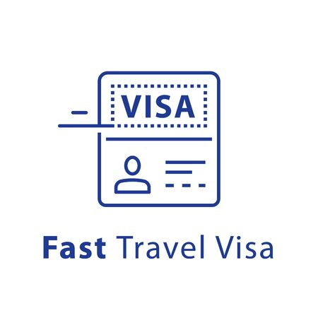 Travel visa approval, passport and stamp, fast service, vector line icon