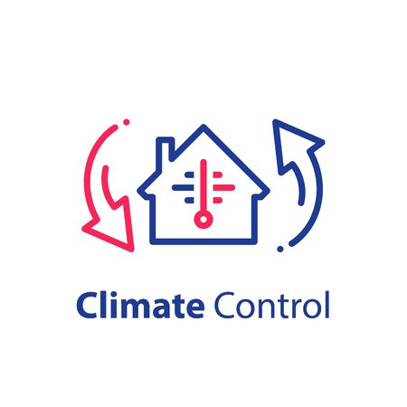 House climate control system, change temperature, home air conditioning, cooling or heating, vector line icon