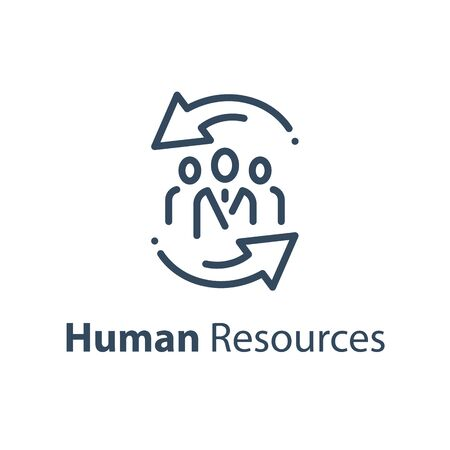 Human resources concept, company staff training, trade union, corporate service, vector line icon 일러스트