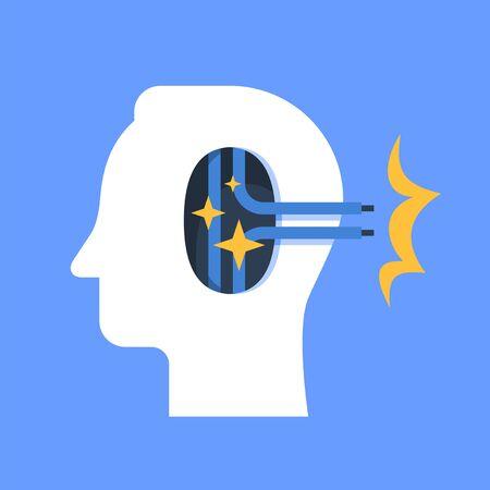 Psychological help, mental health, psychotherapy concept, cognitive trap, vector flat illustration Vektorové ilustrace