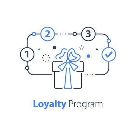 Loyalty program, win special prize, surprise gift, present box, earn points, redeem bonus, vector line icon Illustration