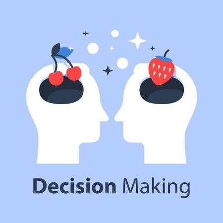 Decision making, psychology of choice, focus group, marketing concept, mindset or bias, manipulation and persuasion, vector flat illustration