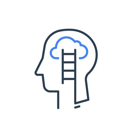 Icono de línea de perfil y escalera de cabeza humana, psicología cognitiva o concepto de psiquiatría, mentalidad de crecimiento, autoconocimiento, entrenamiento de habilidades blandas, inteligencia emocional, diseño lineal vectorial