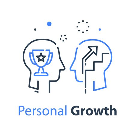 Human head profile and cup, growth motivation concept, leadership training course, employee of the month, winner trophy, personal perfection or superiority, vector line icon