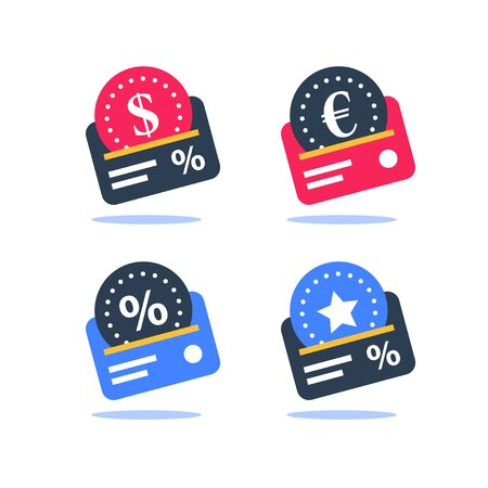 Cash back program, loyalty card, currency exchange, earn points, collect bonus, credit payment, business and finance solution, vector flat icon set Ilustrace