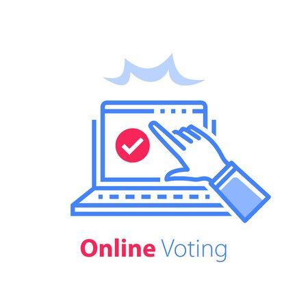 Online exam, pass test, tick box on monitor, check knowledge, complete internet course, web vote, opinion poll, finish study, hand pointing, finger pushing button, vector line icon  イラスト・ベクター素材