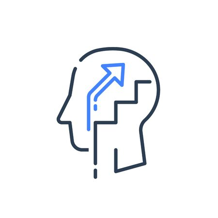 Human head profile and ladder, cognitive psychology, education concept, training courses, better self, growth mindset, personal potential development, vector line icon Ilustrace