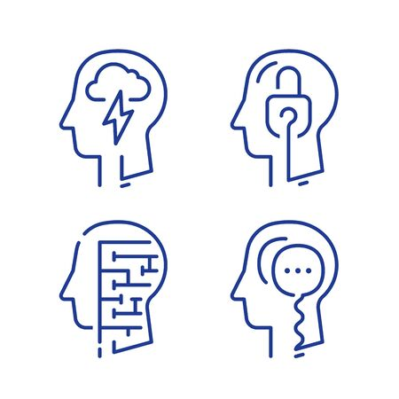 Human head profile, cognitive psychology or psychotherapy concept, mental health or disorder, critical thinking or logic game, memory training,vector line icon set