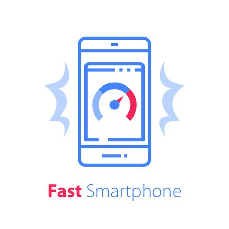 Fast mobile phone, smartphone app development, performance speed, safety or data security concept, device repair services, vector line icon