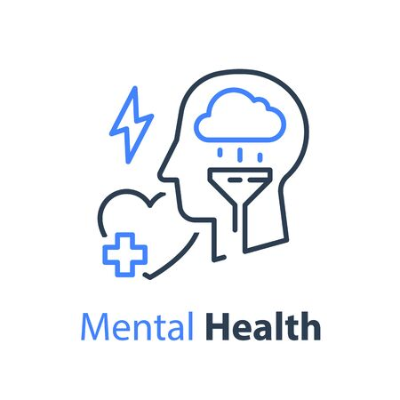 Mental health, human head and cloud, psychological help, psychiatry concept, therapy course, cognitive development, depression treatment, vector line icon Illustration