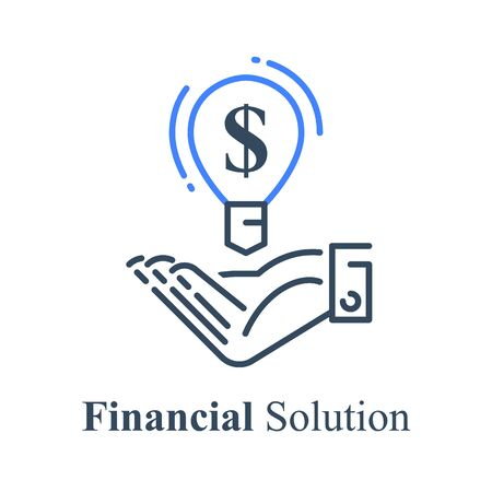 Hand holding  light bulb, financial solution, new business idea, venture capital concept, fund raising, start-up investment, wealth management, vector line icon