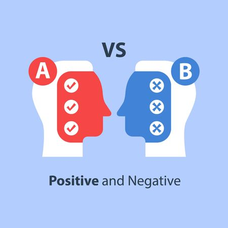 Decision making, pros and cons, for and against, versus concept, opinion poll sociology, bias and mindset, positive or negative reaction, argumentation dialog, two sides, vector flat illustration Illustration