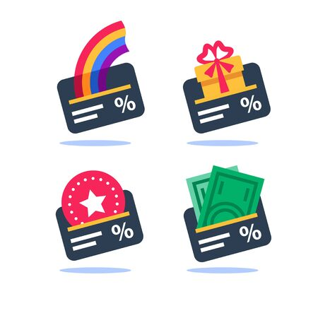 Loyalty program, cash back, gift card, earn points, collect bonus, discount coupon, vector flat icon set