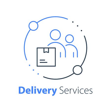 Shop order delivery, receive postal parcel, pick up point, collect purchase, give away office, courier or messenger service, transportation or logistics, move and relocate, vector thin line icon