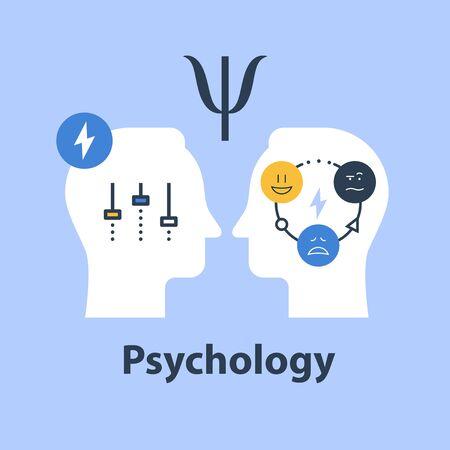 Concept de psychologie positive, test psychologique, intelligence émotionnelle, sentiments de contrôle, communication et compréhension, saute d'humeur, illustration vectorielle à plat Vecteurs