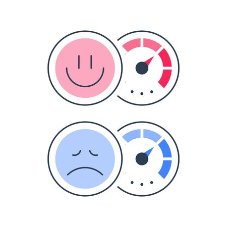 Client opinion poll, customer attitude, negative or positive reaction, good or bad service survey, give feedback, satisfaction level concept, vector icons