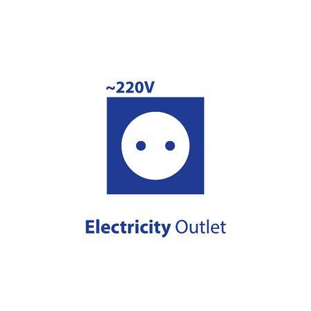 Toma de corriente, punto de voltaje 220, icono plano de enchufe, ilustración vectorial Ilustración de vector