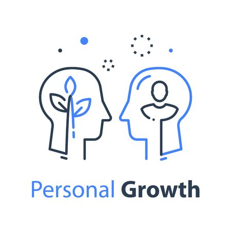 Two human head profiles, self improvement, mentoring concept, pursuit of happiness, self esteem and confidence, psychology professional help, vector linear design Vectores