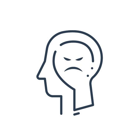 Human head profile, cognitive psychology or psychiatry concept, anger control, bad mood, negative thinking, vector line icon